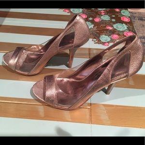Nicole Miller silver/clear Anniele peep toe heels